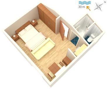 Barbat, Půdorys v ubytování typu studio-apartment, domácí mazlíčci povoleni a WiFi.