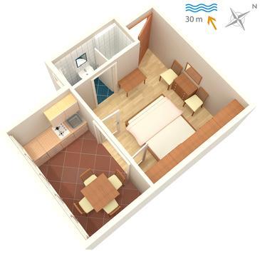 Barbat, Plan in the studio-apartment, dopusteni kucni ljubimci i WIFI.
