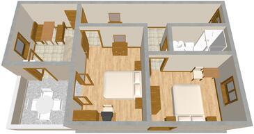 Barbat, Plan kwatery w zakwaterowaniu typu apartment, dopusteni kucni ljubimci.