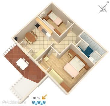 Supetarska Draga - Gornja, Půdorys v ubytování typu apartment, domácí mazlíčci povoleni a WiFi.