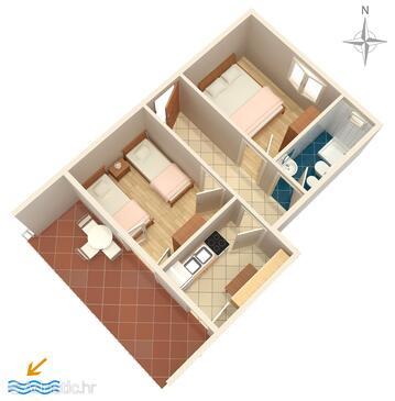 Caska, Půdorys v ubytování typu apartment, domácí mazlíčci povoleni.