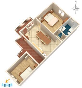 Caska, Pôdorys v ubytovacej jednotke apartment.