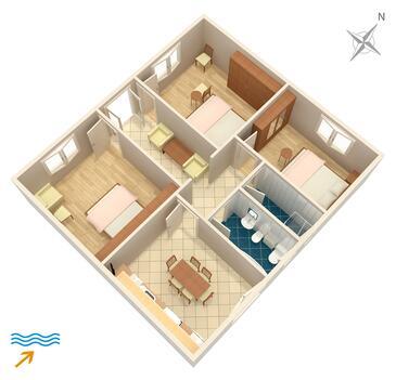 Supetarska Draga - Donja, Půdorys v ubytování typu apartment, WiFi.