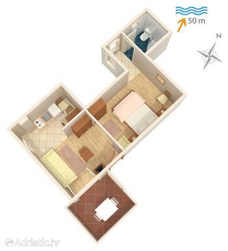 Supetarska Draga - Donja, Plan in the studio-apartment, WiFi.