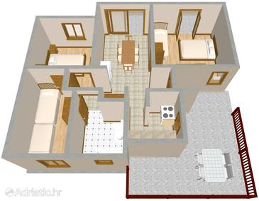 Arbanija, Plan in the apartment.
