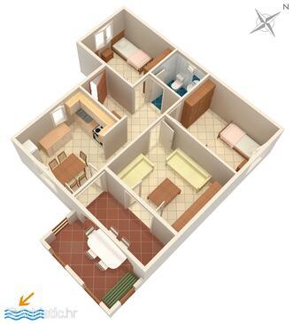Košljun, Plan in the apartment, dopusteni kucni ljubimci.
