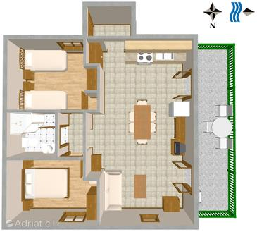 Sevid, plattegrond in the apartment, WiFi.