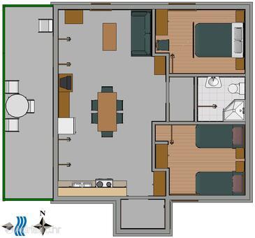 Sevid dwupokojowy apartament z tarasem i widokiem na morze for Apartment wifi plans