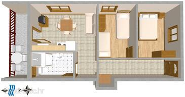 Mastrinka, Půdorys v ubytování typu apartment, WiFi.