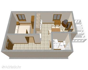 Mandre, Půdorys v ubytování typu apartment, WiFi.