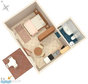 Ražanj, Plan in the studio-apartment, WIFI.