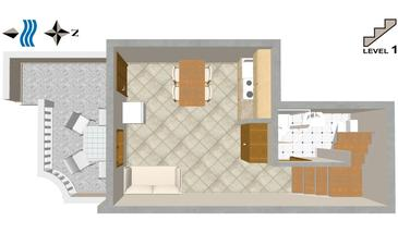 Uvala Tvrdni Dolac, Plan in the apartment.