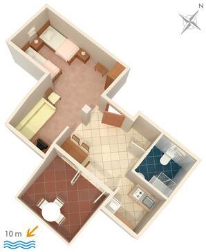 Zavala, plattegrond in the studio-apartment, WiFi.