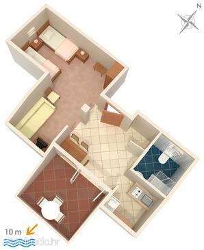 Zavala, Plan in the studio-apartment, WiFi.