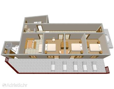 Uvala Srhov Dolac, Plan in the apartment.
