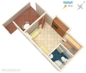 Basina, Plan in the studio-apartment, WIFI.