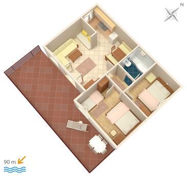 Rastići, Plan kwatery w zakwaterowaniu typu apartment, dopusteni kucni ljubimci i WIFI.