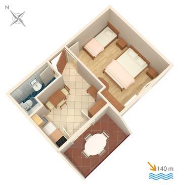 Rastići, Plan kwatery w zakwaterowaniu typu apartment, dopusteni kucni ljubimci.