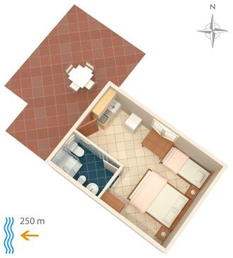 Metajna, Plan in the studio-apartment, dopusteni kucni ljubimci i WIFI.
