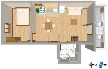 Mastrinka, Plan kwatery w zakwaterowaniu typu apartment, WIFI.