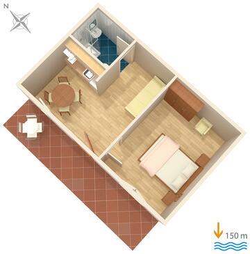 Podstrana, Plan dans l'hébergement en type apartment, WiFi.