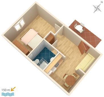 Podstrana, Pôdorys v ubytovacej jednotke apartment, WiFi.