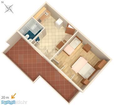 Metajna, Plan in the apartment, WIFI.