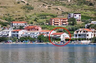 Metajna, Pag, Property 209 - Apartments near sea with sandy beach.