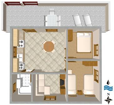 Nečujam, Proiect în unitate de cazare tip apartment, WiFi.