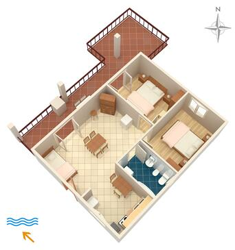 Stupin Čeline, Půdorys v ubytování typu apartment, WiFi.