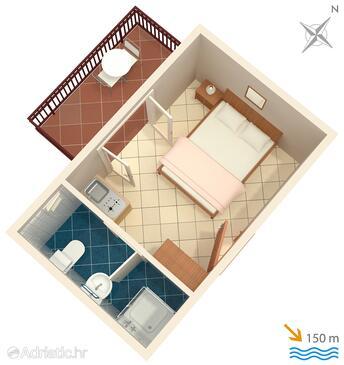 Okrug Gornji, Plan in the studio-apartment, WiFi.