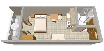 Ražanj, Plan in the studio-apartment, WIFI.