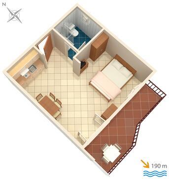 Rastići, Plan kwatery w zakwaterowaniu typu studio-apartment, WIFI.