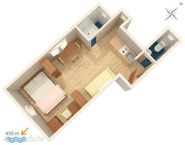 Dubrovnik, Plan in the studio-apartment.