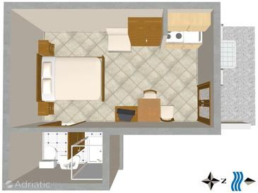 Cavtat, Plan in the studio-apartment.