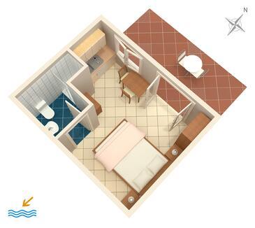 Zaton Veliki, Plan kwatery w zakwaterowaniu typu studio-apartment, WIFI.