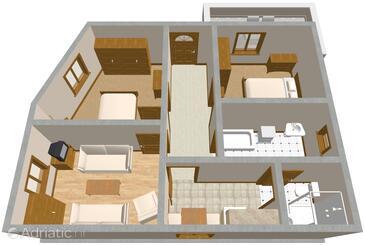 Cavtat, Půdorys v ubytování typu apartment, WiFi.