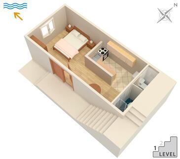 Molunat, Plan kwatery w zakwaterowaniu typu studio-apartment, WiFi.