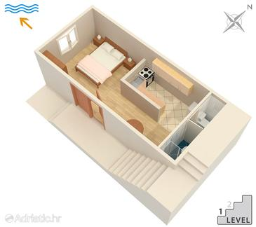 Molunat, Plan in the studio-apartment, WiFi.