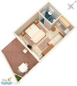 Molunat, Plan in the studio-apartment, WIFI.