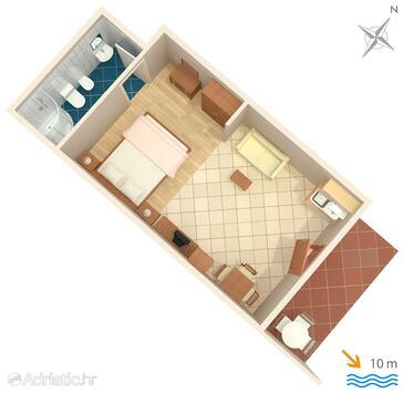 Srebreno, Plan in the studio-apartment.