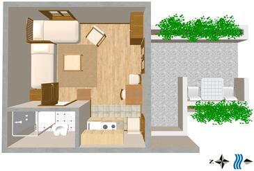 Dubrovnik, Plan in the studio-apartment.
