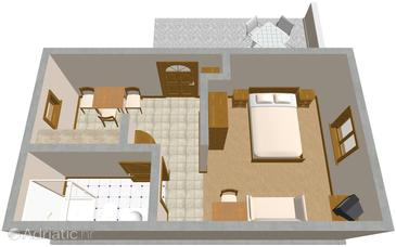 Suđurađ, Plan in the studio-apartment.
