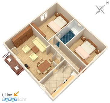 Orašac, Plan in the apartment, dopusteni kucni ljubimci.