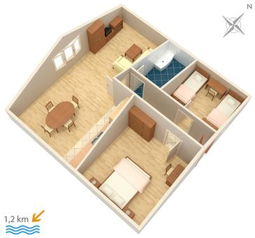 Orašac, Plan in the apartment, dopusteni kucni ljubimci.