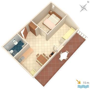 Slano, Plan kwatery w zakwaterowaniu typu apartment, dopusteni kucni ljubimci i WIFI.