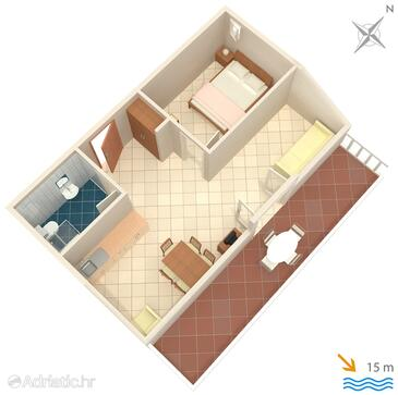 Slano, План в размещении типа apartment, Домашние животные допускаются и WiFi.