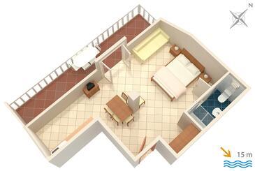 Slano, Plan kwatery w zakwaterowaniu typu studio-apartment, zwierzęta domowe są dozwolone i WiFi.