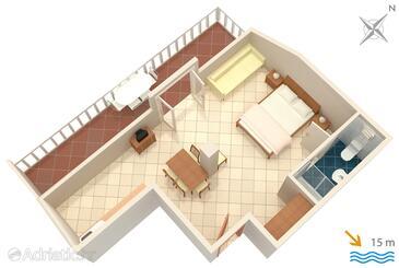 Slano, Půdorys v ubytování typu studio-apartment, domácí mazlíčci povoleni a WiFi.
