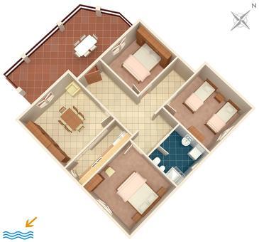 Prižba, Půdorys v ubytování typu apartment, dopusteni kucni ljubimci i WIFI.